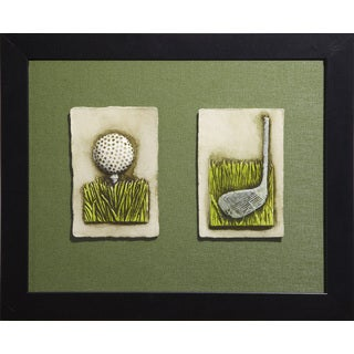 Cast Paper 'Golf Club & Tee Ball Combo' 13x16 Indoor or Outdoor Option Available