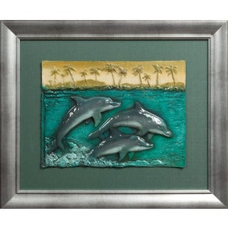 Cast Paper 'Dancing Dolphins l' 20x24 Indoor or Outdoor Option Available