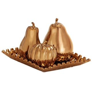 Casa Cortes Bronze Ceramic 4-piece Fruit Centerpiece Plate