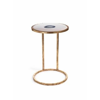 20-Inch High Aquarius Agate and Marble Inlay Accent Table