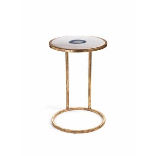"""""""Aquarius"""" 20"""" Tall Accent Table, Marble and Inlaid Agate"""