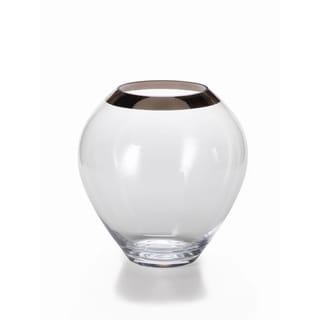Large Foral Vase with Platinum Rim