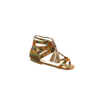Hadari Women's Tribal Tassel Lace Up Flat Sandals