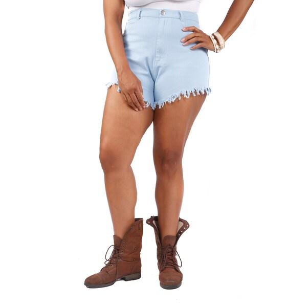 72b00d4d3de Shop Hadari Women s Plus Size High Rise Shorts - Sky Blue - On Sale ...