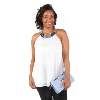 Hadari Women's Plus Size Embellished Neck Keyhole Back Sleeveless Blouse