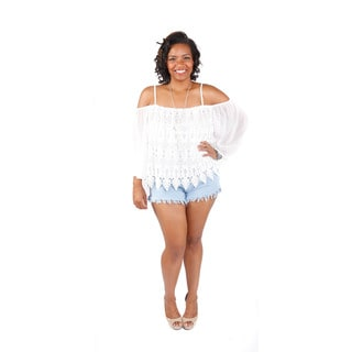 2 Piece Set: Hadari Women's Outfit Plus Size Off Shoulders Crochet Boho Crop Blouse and High Rise Shorts