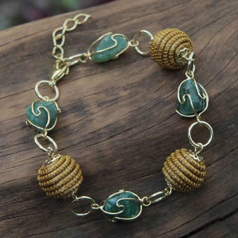 Gold Overlay 'All Aglow in Green' Agate Bracelet (Brazil)