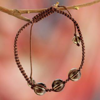 Handmade Smoky Quartz 'Enduring Peace' Bracelet (India)