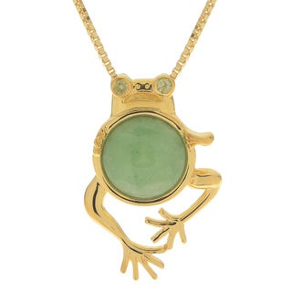 Gems For You 14k Gold Over Silver Jade and Peridot Frog Pendant