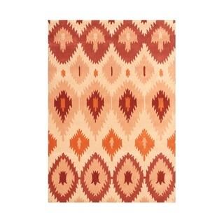 The Eye-catching Alliyah Traditional Ancient Textile Ikat Handmade Orange Rug (5' x 8')
