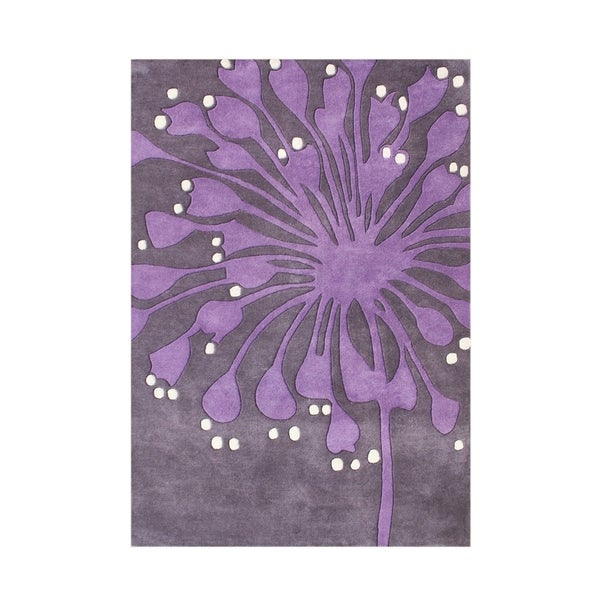 Alliyah Purple Wool Orchid Flower Handmade Accent Rug - 8' x 10'