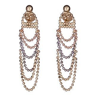 Decadence 14k Tri-color Gold Dangling Beaded Earrings
