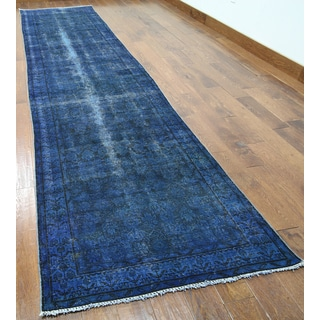 Blue Wool Hand-knotted Oriental Overdyed Rug (3'5 x 13'4)
