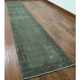 Green Wool Oriental Overdyed Hand-knotted Rug (2'6 x 14'4)