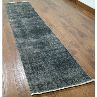 Grey Wool Hand-knotted Oriental Overdyed Runner Rug (2'2 x 9'3)