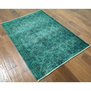 Oriental Overdyed Green Wool Hand-knotted Rug (3' 2 x 4' 5)