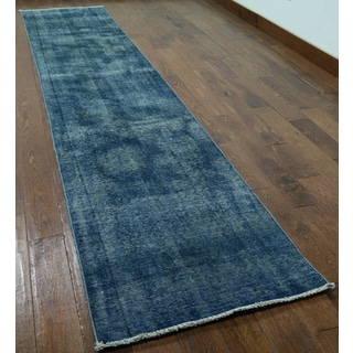 Blue Wool Oriental Overdyed Hand-knotted Runner Rug (2'6 x 12'4)