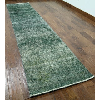 Hand-knotted Oriental Overdyed Green Wool Runner Rug (2'5 x 12'9)