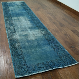 Hand-knotted Oriental Overdyed Blue Wool Rug (2'10 x 11'3)