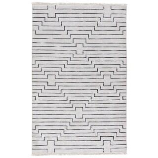 Zolin Handmade Geometric White/ Black Area Rug (2' X 3')