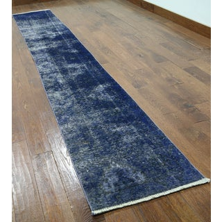 Oriental Overdyed Blue Wool Hand-knotted Rug (1'10 x 12'5)
