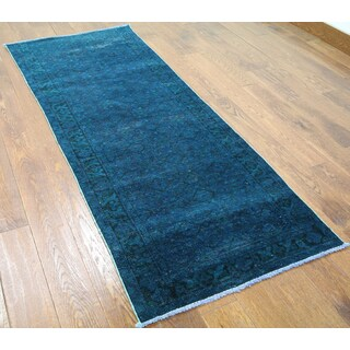 Blue Wool Oriental Overdyed Hand-knotted Runner Rug (2'7 x 6'10)