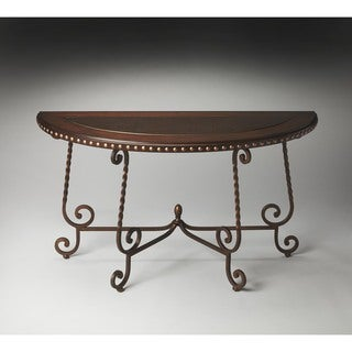 Butler Nottingham Metal & Wood Demilune Console Table