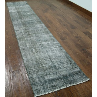 Hand-knotted Oriental Overdyed Grey Wool Rug (2'1 x 12'2)