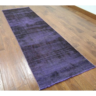 Hand-knotted Oriental Overdyed Purple Wool Rug (2'7 x 9'1)