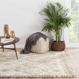 Kieron Handmade Geometric Cream/ Brown Area Rug - 2' x 3'