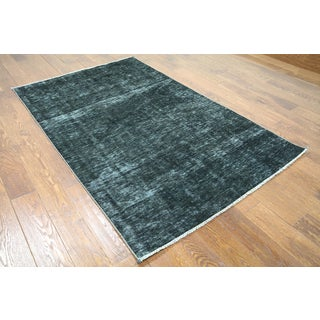 Blue Wool Oriental Overdyed Hand-knotted Rug (4'1 x 6'8)