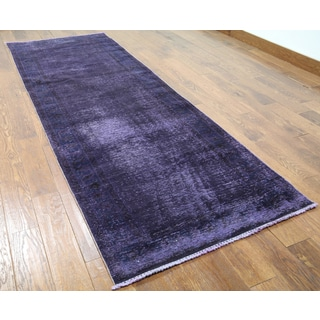 Purple Wool Oriental Hand-knotted Overdyed Runner Rug (3'5 x 10')