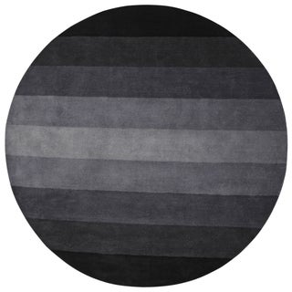 Black to Grey Stripes Rug (6' Round)