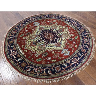 Heriz Red Wool Hand-knotted Oriental Rug (4'10 x 5')