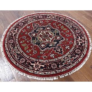 Oriental Heriz Red Wool Round Hand-knotted Rug (4' x 4' 1)