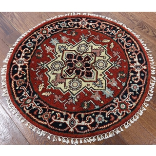 Heriz Oriental Red Wool Hand-knotted Rug (3'1 x 3'2)