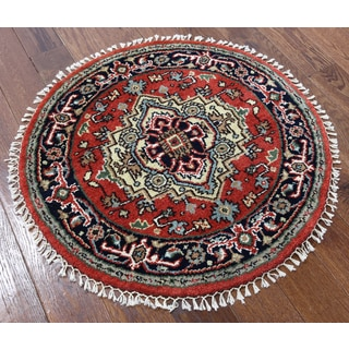 Oriental Heriz Red Wool Hand-knotted Rug (3' x 3' 1)