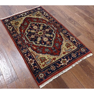 Red Wool Oriental Heriz Hand-knotted Rug (2'8 x 4'2)