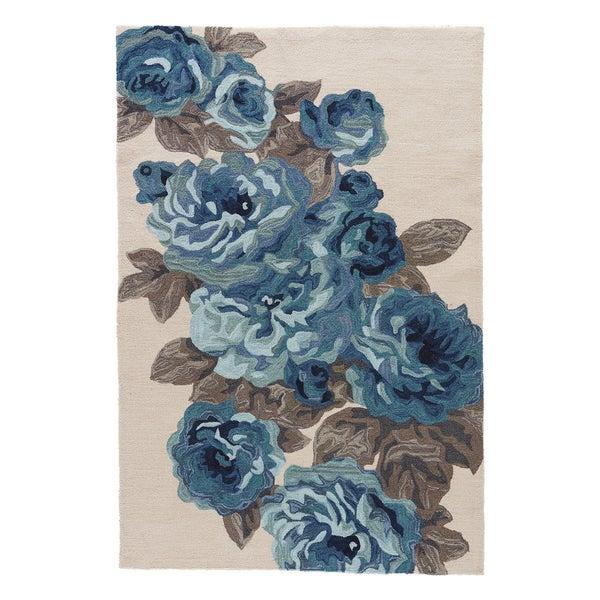 Frida Handmade Floral White/ Blue Area Rug (2u0026#39; X 3 ...