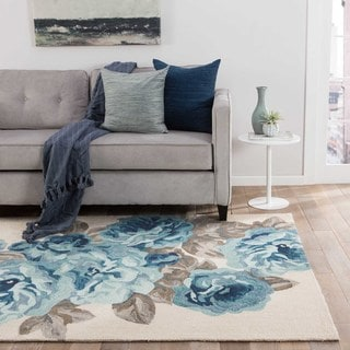 Contemporary Floral & Leaves Pattern White/ Blue Polyester Area Rug (2' x 3')