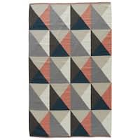 Aldrich Handmade Geometric Gray/ Coral Area Rug (2' X 3') - 2' x 3'