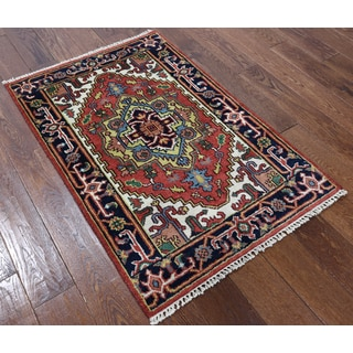 Heriz Red Wool Hand-knotted Oriental Rug (2'8 x 4')
