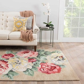 Contemporary Floral & Leaves Pattern Brown/ Pink Polyester Area Rug (2' x 3')