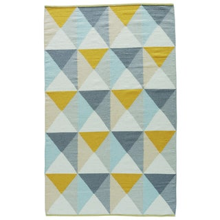 Youth Geometric Pattern Yellow/ Blue Wool and Cotton Area Rug (2' x 3')