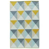 Aldrich Handmade Geometric Blue/ Yellow Area Rug (2' X 3')