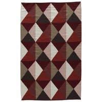 Aldrich Handmade Geometric Red/ Tan Area Rug (2' X 3')
