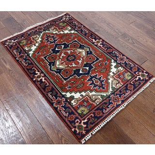 Heriz Oriental Hand-knotted Red Wool Latex-free Rug (2'8 x 4'1)