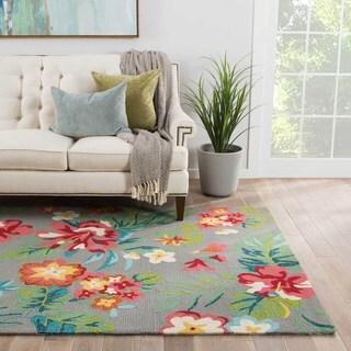 Carmen Indoor/ Outdoor Floral Gray/ Multicolor Area Rug (2' X 3')
