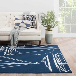 Starboard Indoor/ Outdoor Geometric Blue/ White Area Rug (2' X 3')