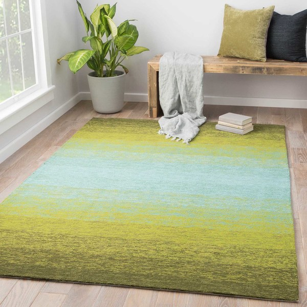 Channel Indoor Outdoor Ombre Lime Green Turquoise Area Rug 2 X27